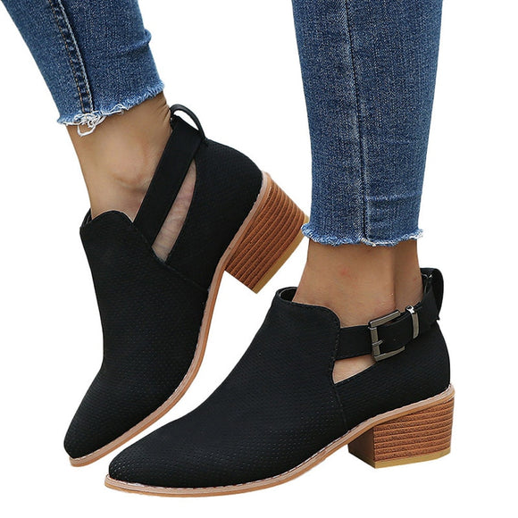 Fashion Pointed Toe Square Heel Ladies Shoes