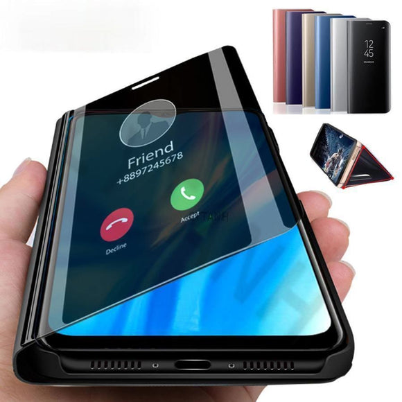 Smart Mirror Flip Ultra Thin Armor Shockproof Ring Case for iPhone 12 Pro