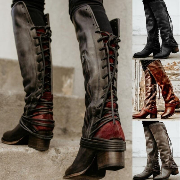 Women Vintage Knee High Gladiator Boots