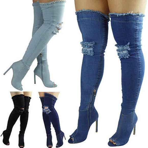 Women Shoes - New Sexy Heels Knee High Denim Boots