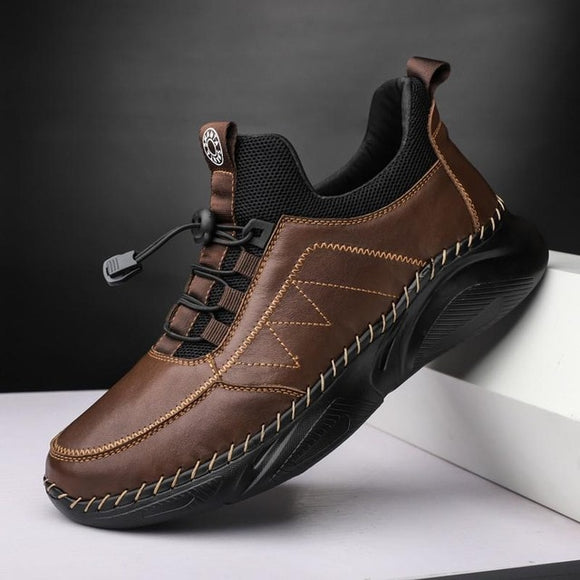 Men Thick Plush Waterproof Genuine Leather Boots