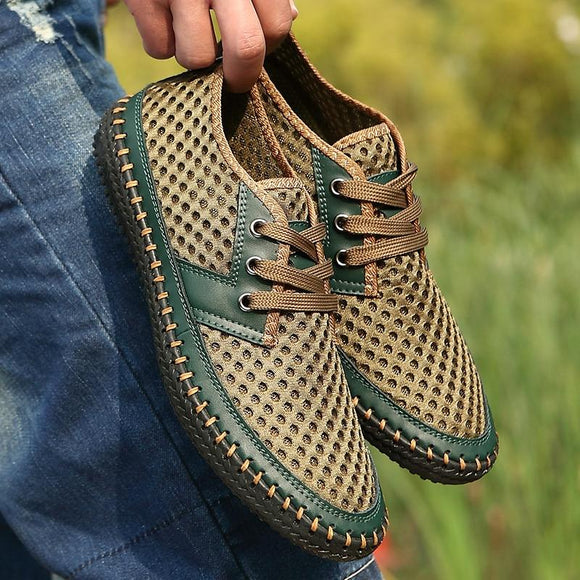 Fashion Mesh Breathable Lace-Up Shoes