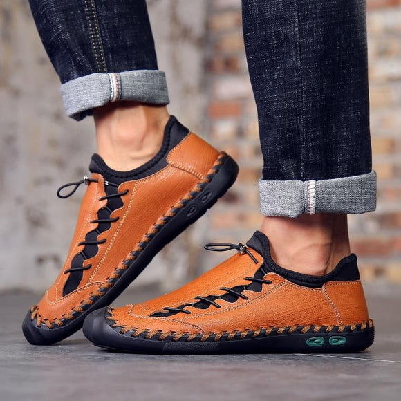 Fashion Split Leather Mens Flat Male Outdoor Sport Loafers