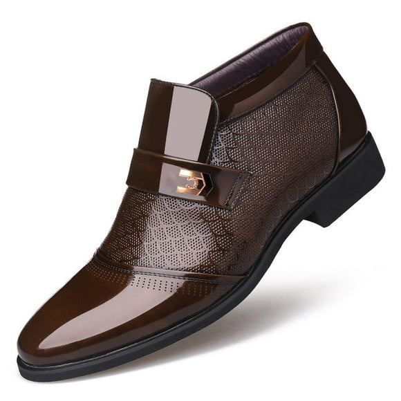 Mens Fashion Leather Flat Dress Shoes