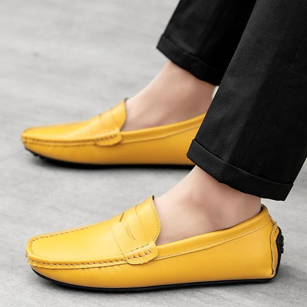 Genuine Leather Men Loafers Peas Lazy Shoes