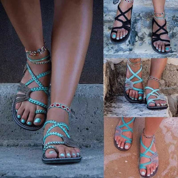 New Handmade Breathable Bandage Beach Flat Sandals
