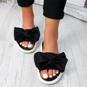 Casual Comfort Slip On Sliders Peep Toe Ladies Bow Flats Slippers