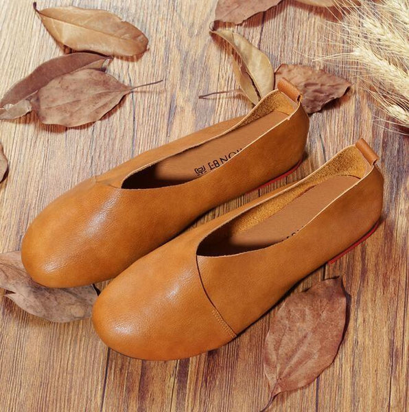 Women's Shoes - Woman Leather Hand-sewn Flexible Comfortable Flat Loafers
