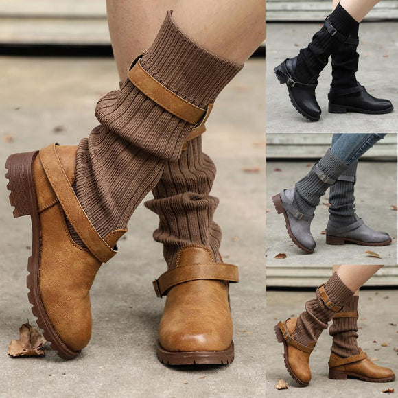 Women's Shoes - Vintage Buckle Strap Comfort Leather Boots