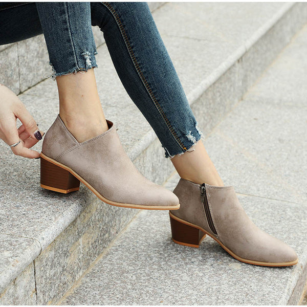 Shoes - Plus Size Suede Pointed Toe Women Short Boots