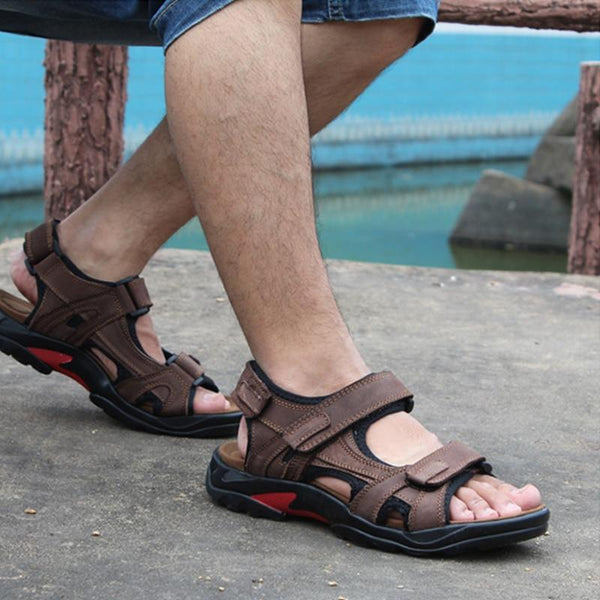 Men's Shoes - Summer Men Genuine Leather Classical Casual Beach Sandals
