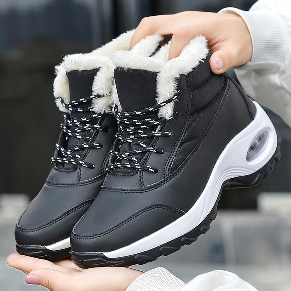 Fashion Women Warm Fur Lace Up Platform Waterproof Ankle Boots