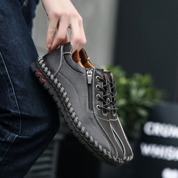 Casual Large Size Breathable Men Flats Genuine Leather Shoes