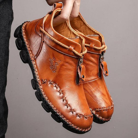 Men's Casual Genuine Leather Comfortable Snow Shoes Ankle Boots(Buy 2 Get 10% OFF, 3 Get 15% OFF, 4 Get 20% OFF)