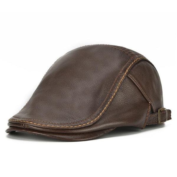 Real Cowhide Leather Classic Men Autumn Winter Adjustable Duckbill Flat Caps