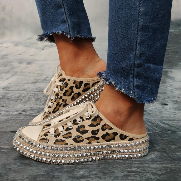 Women Canvas Shoes Punk Style Leopard Espadrilles (Buy 2 for 5% Off, 3 for 10% Off)