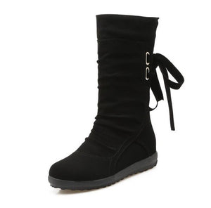 Casual Big Size Pure Color Lace Up Mid Calf Flat Knight Boots