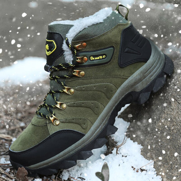 Men Warm Plush Waterproof Hiking Shoes Snow Boots(Buy 2 Get 10% off, 3 Get 15% off )
