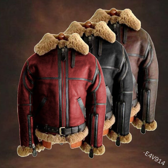 Casual Mens Fur Motorcycle Jackets(Buy 2 Get 10% off, 3 Get 15% off )
