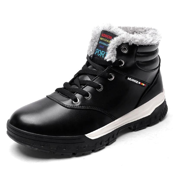 Men's Shoes - Large Size Leather Fashion Winter Warm Cotton Ankle Boots