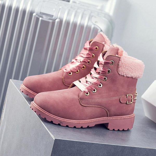 Women's Shoes - Winter Warm Solid Short Plush Lace Up Ankle Boots
