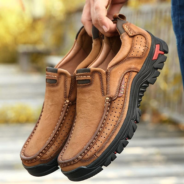 Genuine Leather Solid Spring Autumn Slip On Casual Shoes(Extra Wide Width Offer)