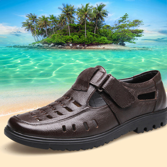 Men High Quality Leather Beach Sandals