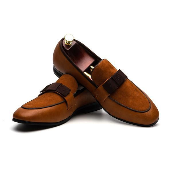 Men's Shoes - Genuine Patent Leather Suede Patchwork With Bow Tie Dress Shoes