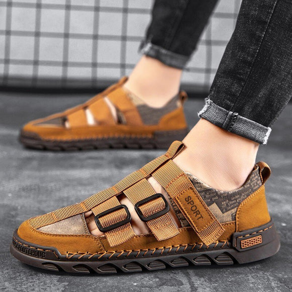 2021 New Fashion Men Split Leather Sandals