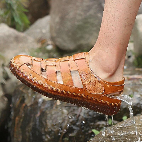 Kaaum New Men Handmade Leather Summer Beach Sandals