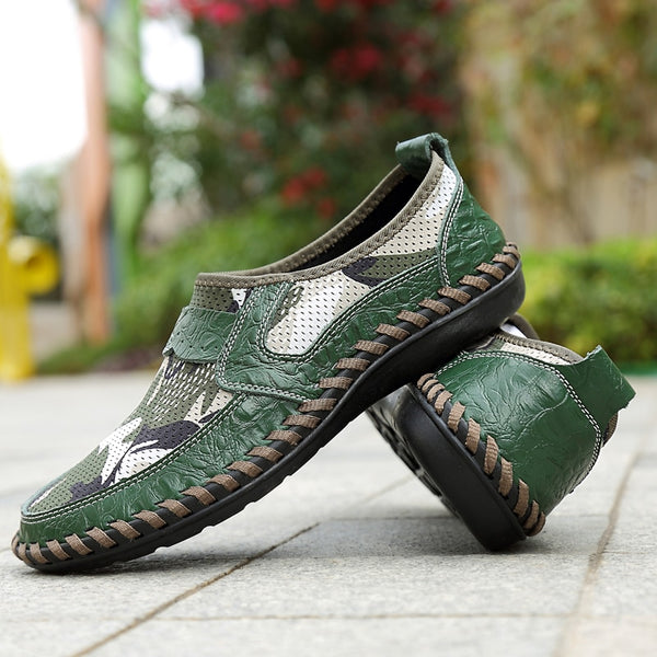 New Men's Mesh Flat Walking Shoes Outdoor Sneakers Male Driving Car Shoes