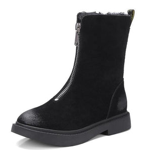 Women's Shoes - Fashion Zip Open Outdoor Leather Cute Boots