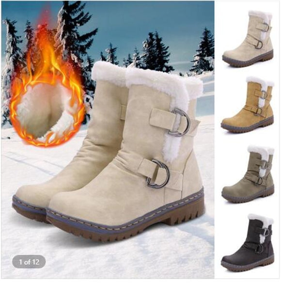 Women Winter Warm Comfortable Plus Size Ladies Plush Snow Boots