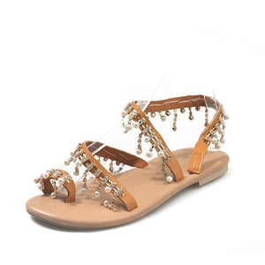 Women Summer Pearl Leather Chic Sandals