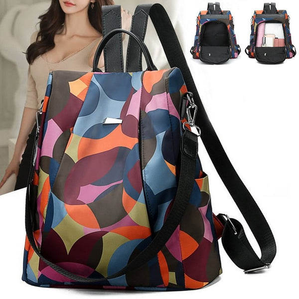 Women Oxford Multifuction Backbag Anti Theft Backpack