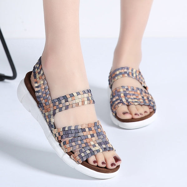 Women Flat Sandals Woven Wedge Sandals