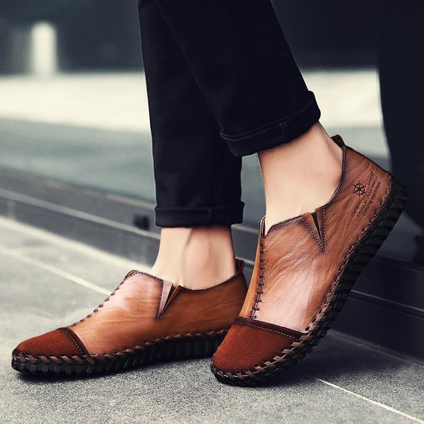 Men Leather Retro Slip-on Casual Shoes