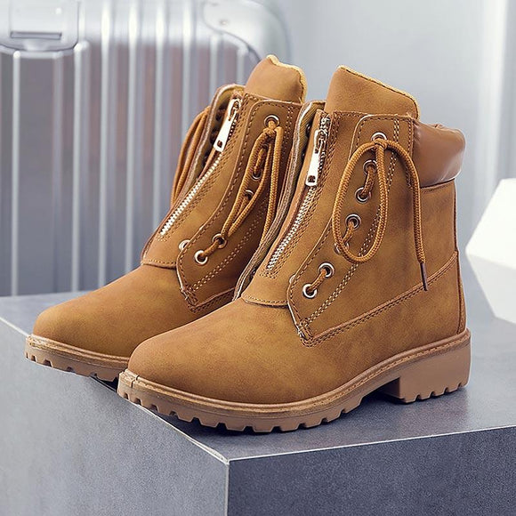 Women's Shoes - New Lace-up Zipper Casual Boots