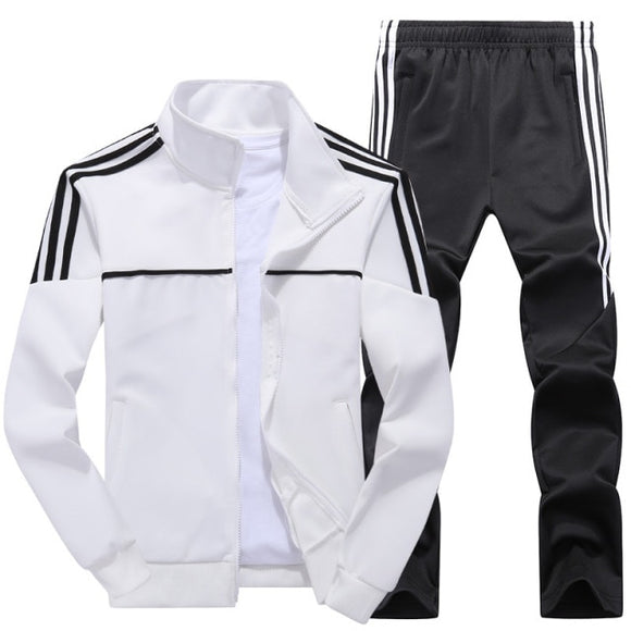 Men's Striped Decoration Sports 2 Piece Set