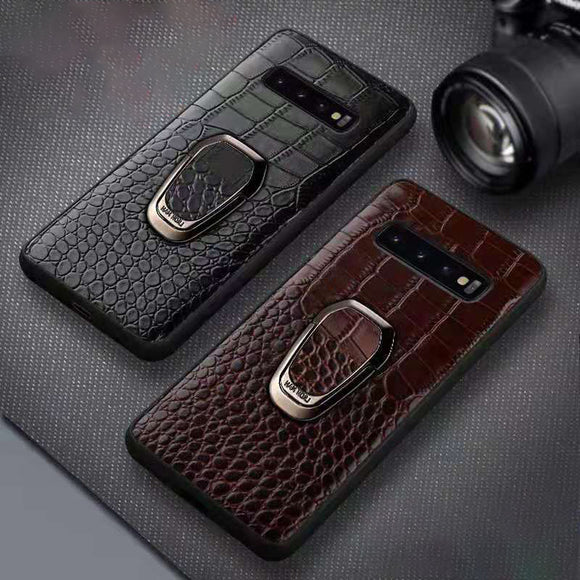 Case & Strap - Luxury Crocodile Leather Car Magnetic Case for Samsung Galaxy note 10 plus S9 S8 Note 9 8