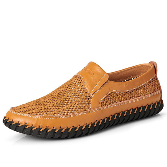 Summer Leather Men Mesh Loafer Shoes