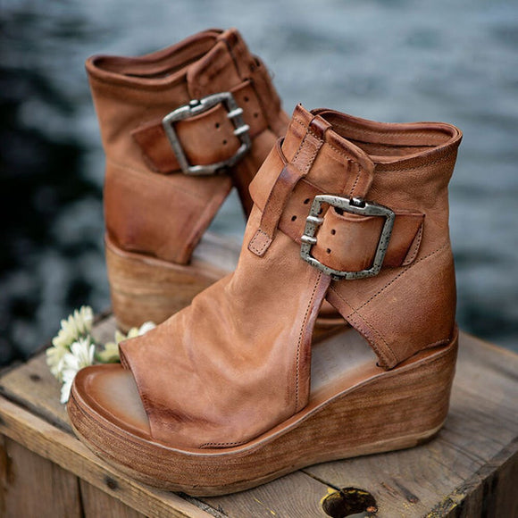 Women Leather Retro Wedges Sandals
