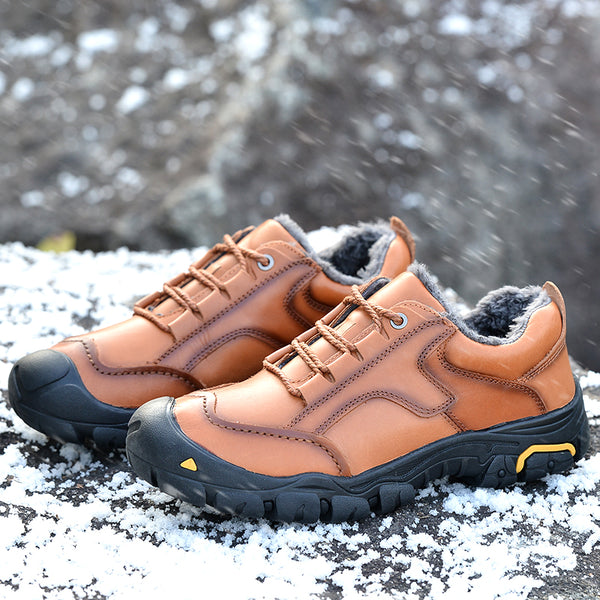 Men's Shoes - Big Size Cow Leather Casual Outdoor Waterproof Sports Shoes
