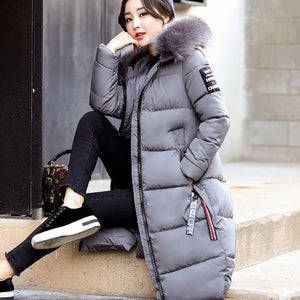 Winter Women's Fashion Zipper Hooded Female Long Slim Down Jacket