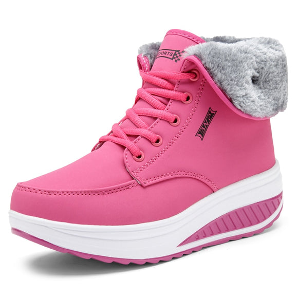 Women Warm Plush Wedges Snow Boots