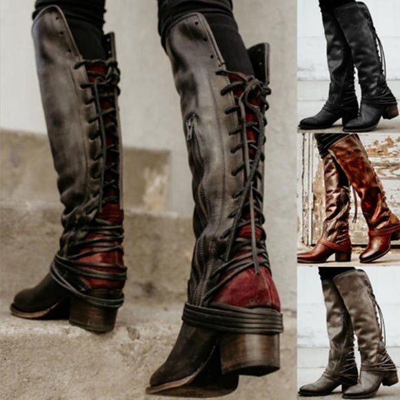 Women's Shoes - Vintage Knee High Gladiator Booties