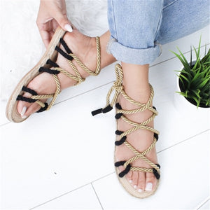 Women Flat Sandals Hemp Rope Lace Up Gladiator Sandals
