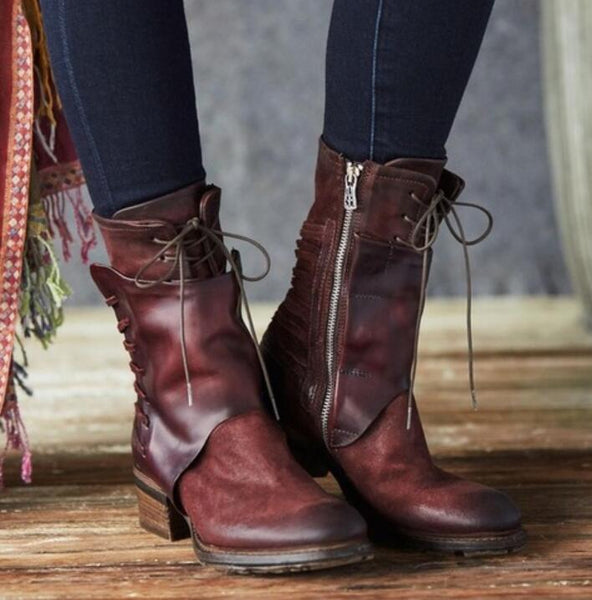 Women's Shoes - Women Fashion Leather Low-heeled Zipper Lace Up Boots ( Buy One Get One 20% Off )
