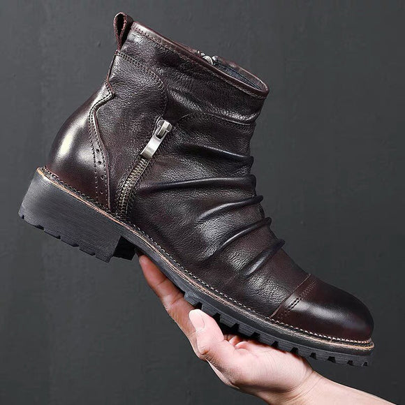 Yokest New Autumn Men Leather Retro Zipper Ankle Boots