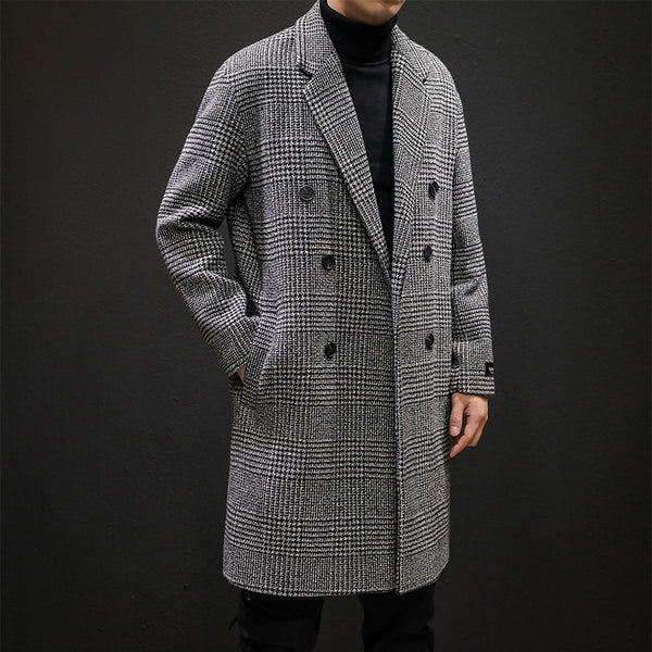 2019 Men Turn-down Collar Mid-Long Casual Double Breasted Woollen Houndstooth Jacket
